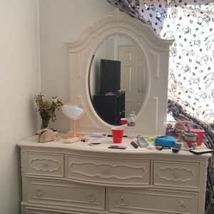 Girls Bedroom White Wood Bunk Bed, Dresser With Mirror for Sale in San Diego, CA