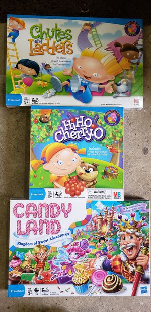 Toddler board games Candy Land, Chutes and ladders and Hi-ho Cherry-o for Sale in Playa del Rey, CA
