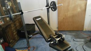 Fitness Gear incline bench & flat, leg press, bars & 95lbs of steel weights for Sale in Woodbridge, VA
