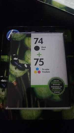 Hp printer ink (74 black 75 tricolor) for Sale in Washington, DC