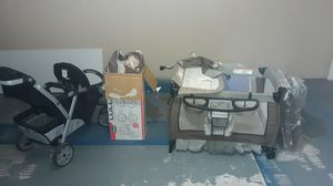 1 double seated stroller and 2 baby beds for Sale in Houston, TX