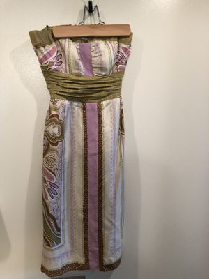 NICOLE MILLER Collection Strapless Sundress Dress Gold 100% Silk Size 0 Small. Gold green pink beige neutral tones. Smoke free home. for Sale in Washington, DC