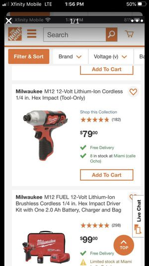 M12 1/4 Inch Hex Milwaukee Impact for Sale in Coral Gables, FL
