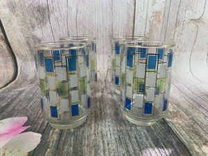 VTG 60s-70s MCM Blue White Drinking Glasses for Sale in Jonestown, PA