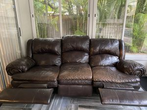Recliner Leather Sofa (Ok Condition) for Sale in Palm Harbor, FL
