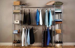 "Brand new Seville Classics Double-Rod Expandable Clothes Rack Closet Organizer System, 58"" to 83"" W x 14"" D x 72"", UltraZinc for Sale in Las Vegas, NV"