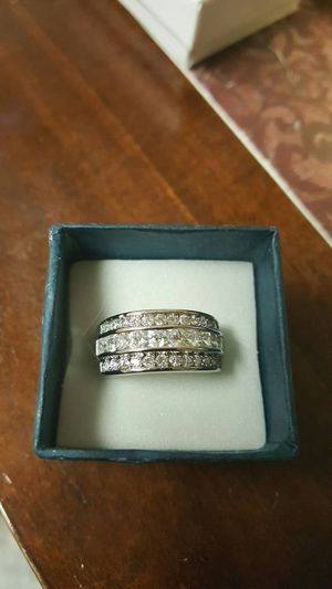 10k silver plated white saphire wedding band for Sale in Odenton, MD