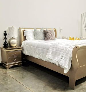 Queen Size Gold Sleigh Bed, 1 Nightstand, And Mattress Set for Sale in Atlanta, GA