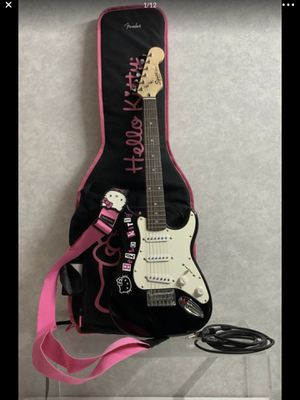 Fender guitar hello kitty fantastic & strap & bag for Sale in Clearwater, FL