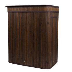 Brown Bamboo Laundry Basket Hamper with Lid & Cotton Liners for Sale in El Monte, CA