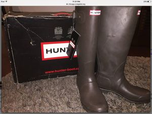 New Original Tall Hunter Rain Boots 9 Chocolate (Brown) - $80 for Sale in Chicago, IL
