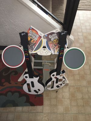 Wii drum set with two guitars and two games for Sale in Waterbury, CT