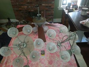 Ceiling fan with 2 matching chandeliers for Sale in Saint Louis, MO
