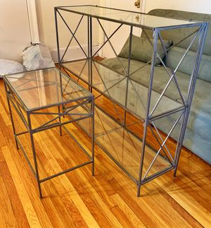 Decorative Glass & Iron Shelving with Companion End Table for Sale in Hoboken, NJ