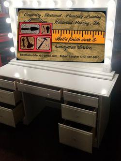 Huge Mirror & Desk . Custom made Make Up Vanity. for Sale in Hawthorne,  CA