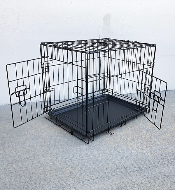 """New $25 Folding 24"""" Dog Cage 2-Door Folding Pet Crate Kennel w/ Tray & Divider 24""""x17""""x19"""""""