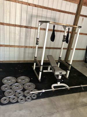 Tuff stuff power cage weight set bench and squat 300lbs for Sale in Saint Charles, MO