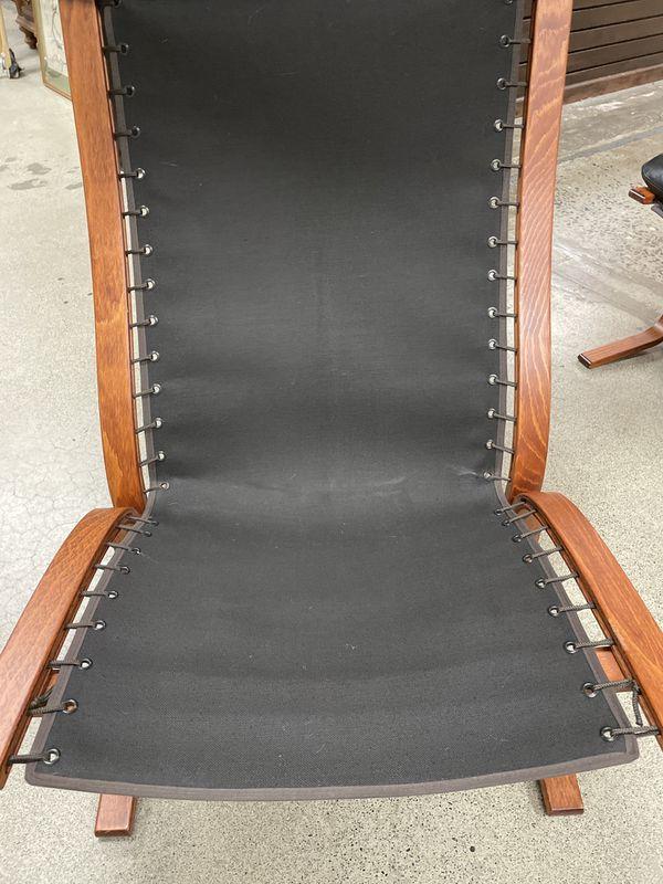 Westnofa Teak Leather Lounger/Ottoman