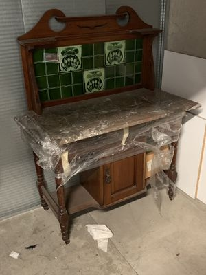 Antique English oak, with marble top over 100 yrs old for Sale in Costa Mesa, CA