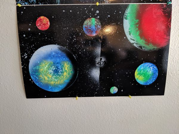 Spray paint art Galaxy and planets