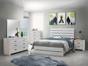 4PC QUEEN BEDROOM SET: QUEEN BED FRAME, DRESSER, MIRROR, NIGHTSTAND--COASTAL WHITE for Sale in Grass Valley, CA