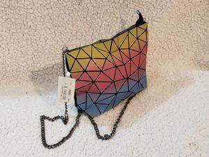 three colored Geometric Luminous tote Bag PU Leather Shard Lattice Holographic Purse Ladies Shoulder Bag for Sale in North Miami, FL