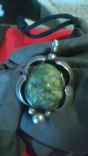 Green stone and silver pendant for Sale in Dallas, TX
