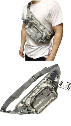 NEW! Camouflage Tactical Military style Shoulder Bag / Waist Pack Pouch fanny pack crossbody bag travel bag camping day pack hiking fishing molle for Sale in Carson, CA