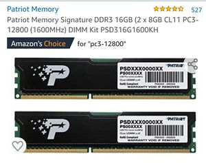 16gb ram DDR3. 1600Mhz for Sale in Waterbury, CT