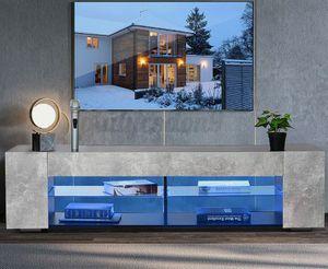 57'' TV Stand Unit Cabinet Entertainment Center w/ LED Light Shelves for 65'' TV for Sale in Fort Lauderdale, FL
