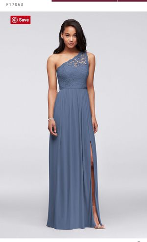 David's Bridal lace bridesmaid dress (steel blue) - size 14 for Sale in Gilbert, AZ