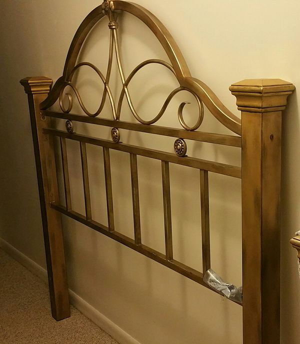 Metal bed frame. Headboard, footboard, and box spring all included