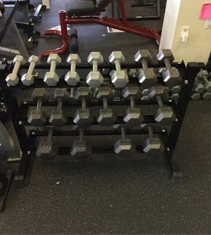 New Dumbbell set with rack pair of 5 8 12 15 20 25 30 35 & 40 Lb for Sale in Phoenix, AZ