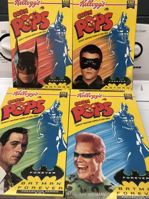 COMPLETE SET OF 4 - 1996 BATMAN FOREVER KELLOGGS CORN POPS CEREAL BOXES - NOT FLAT - BATMAN, ROBIN, TWO FACE, THE RIDDLER for Sale in San Diego, CA