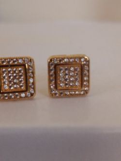 Sterling Silver Vermeil Square CZ Diamond Accents Earrings for Sale in Tampa,  FL