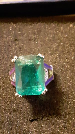 Costume ring big green gem purple on sides size 5 to 5 1/2 for Sale in Woodstock, VA