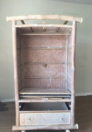 FREE CABINET! No doors wood bamboo handmade tv cabinet storage whitewashed for Sale in Palm Beach, FL