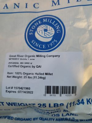 Great River Organic Milling, Whole Grain, Hulled Millet, Ancient Grain, Organic, 25-Pounds for Sale in San Bernardino, CA