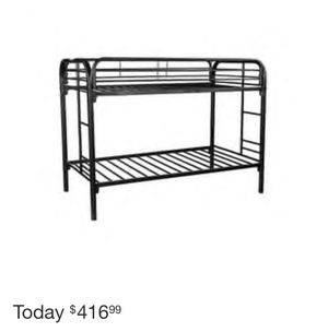 Great condition! Kids black metal bunk beds. Two plastic wrapped mattresses included. for Sale in Trenton, NJ