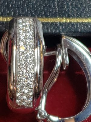 14K White Gold Omega French Clip Diamond Pave Earrings,$2300.00 for Sale in Bellevue, WA