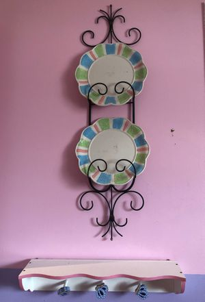 Plates and plate organizer, wall decor, and wall shelve for Sale in Sterling Heights, MI
