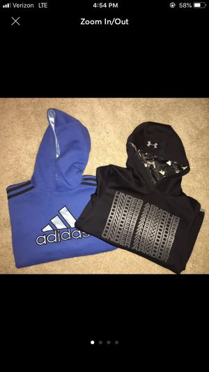 Lot of 2 youth L Large under armour & Adidas sweatshirts. Hooded pullover Both in excellent conditio for Sale in Puyallup, WA