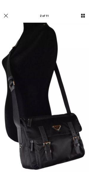 PRADA TESSUTO BLACK NYLON LEATHER MESSENGER CROSSBODY BAG HANDBAG for Sale in Chicago, IL