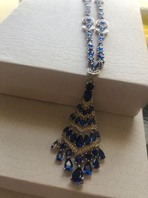 925 sterling silver Ceylon blue sapphire chandelier pendant necklace 19' for Sale in Suisun City, CA