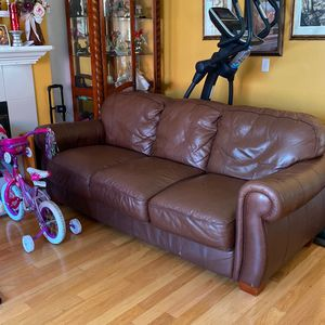 2 Piece Leather Sofa + Loveseat Set (real Leather) for Sale in San Diego, CA