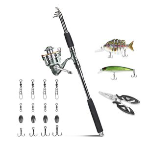 Fishing Rod Reel Combos - Portable Collapsible Pole Spinning Reel Kits Travel Saltwater Freshwater Fishing for Sale in Brooklyn, NY