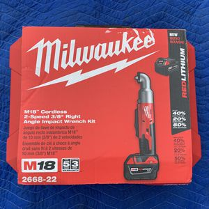 """Milwaukee M18 Cordless 2 spd 3/8"""" right angle impact wrench-Brand New 2668-22 INCLUDES TWO (2) NEW XC BATTERIES for Sale in Spring Lake, NJ"""