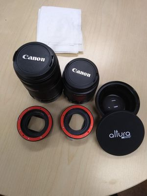 Two canon IS II lensee with digital adapter and 0.43 HD wide angle lens for Sale in San Jose, CA
