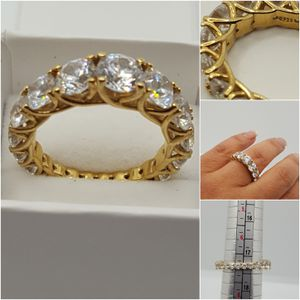 Gorgeous 925 Sterling silver Ring,4.77grs 10k gold plated, Sz7, beautiful Cz Diamond all around the Ring, for Sale in Covington, KY