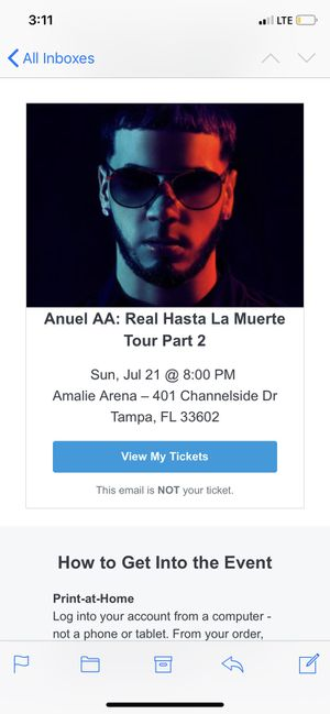 Tickets for Anuel for Sale in Pinellas Park, FL